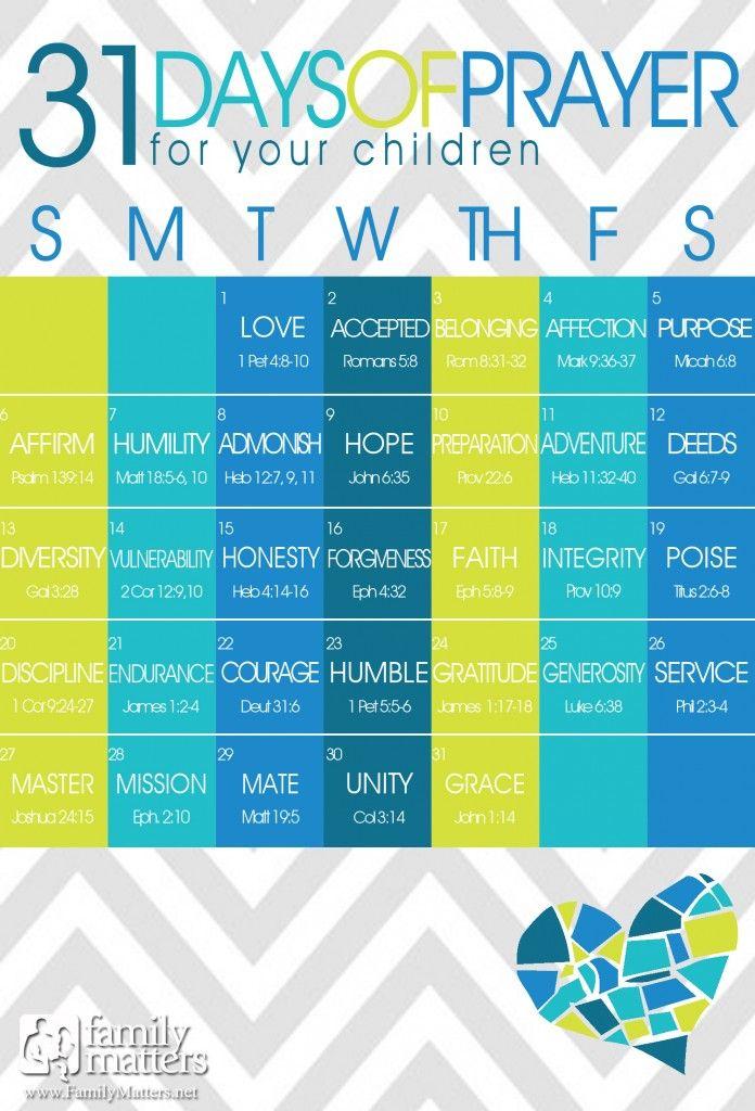 FREE 31 Days Of Prayer For Your Children Calendars!