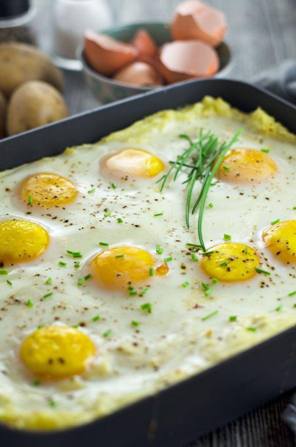 Kartoffelbreiauflauf mit Rahmspinat und Spiegelei - Kindheit pur