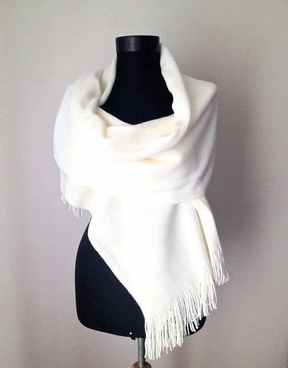Winter Wedding Ivory Shawl Cream Warm Scarf Bone Knit Elegant Wrap Bridal Soft Cozy Cover Up Christmas Gift