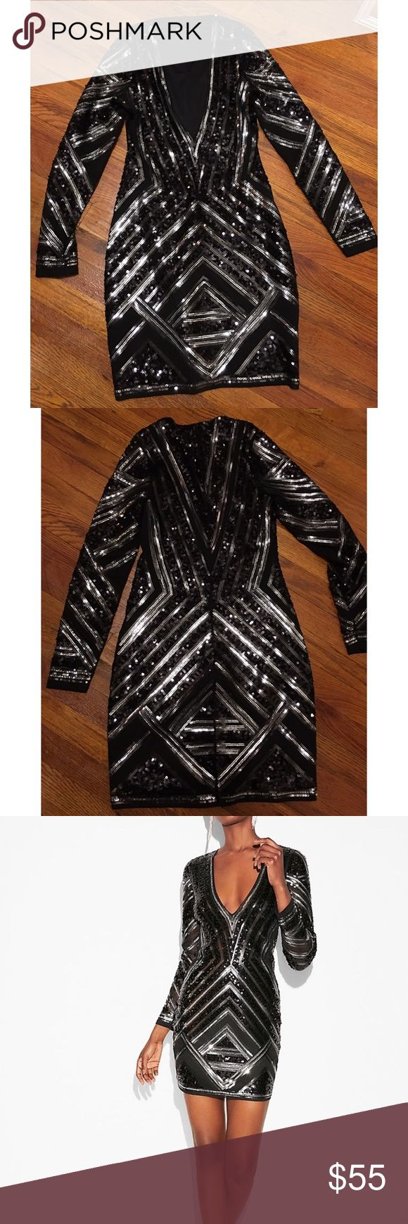 Express Long Sleeve Black & Silver Sequin Dress Super Sexy Long sleeve dress from Express.  Black and silver Sequins with black Mesh.  Size XS. Worn once. Express Dresses Mini
