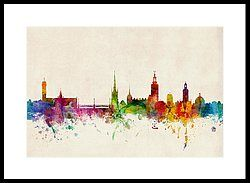 Stockholm Sweden Skyline Sverige Framed Print by Michael Tompsett