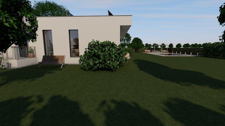 Modern, 5 szobás, 229 m2-es földszintes családi ház mintaterve, alaprajzzal A keleti homlokzat és a kert.