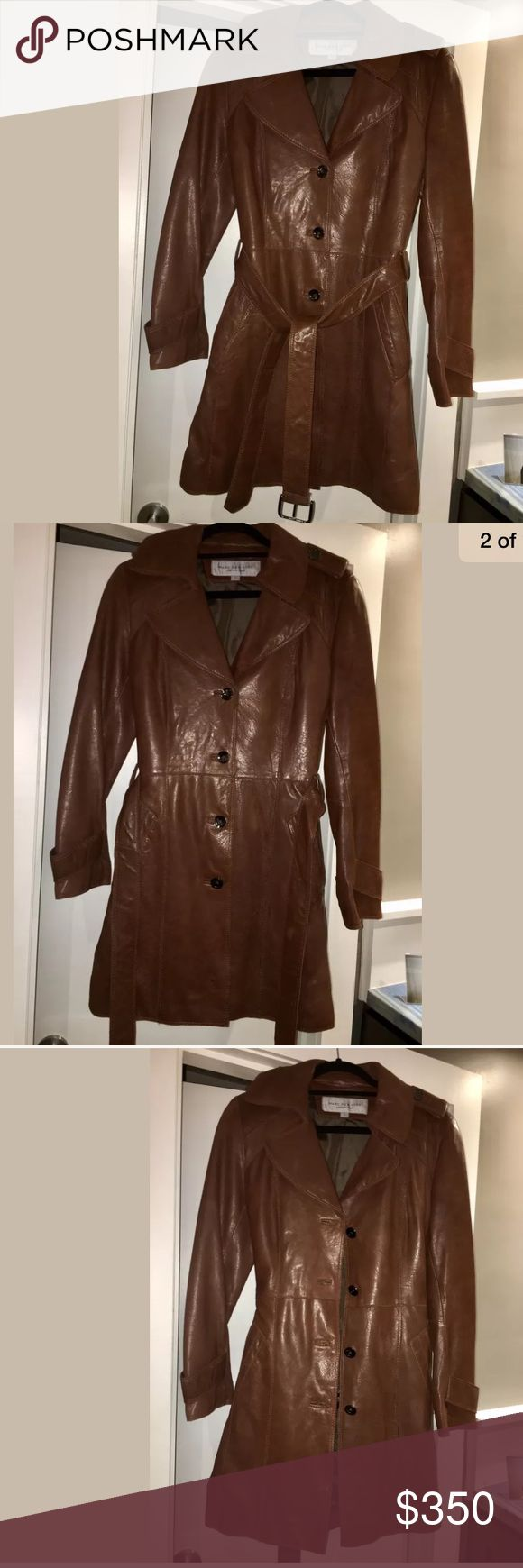 Andrew Marc Distressed Leather Trench Coat, small AUTHENTIC ANDREW MARC DISTRESSED BROWN (GENUINE LEATHER) TRENCH COAT, SIZE SMALL.    ANDREW MARC BELTED TRENCH COAT, SIZE SMALL. RUNS TRUE TO SIZE. HEADS WILL TURN WHEN YOU SHOW UP IN THIS COOL, SEXY, AND ELEGANT PIECE! AND WHAT GUY DOESN'T LOVE A TRENCH??? DRESS IT UP, DRESS IT DOWN. THIS COAT SPEAKS FOR ITSELF AND MAKES IT'S OWN RULES... Andrew Marc Jackets & Coats Trench Coats