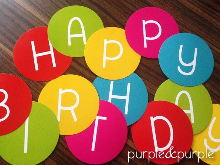 Happy Birthday Banner | Ücretsiz Mutlu Yıllar Banner tasarımı | Tıkla indir | DIY | Free Printables | Freebies | Free Printable Party Labels