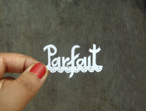 French Typography Papercut  Handcut paper miniature by Kalatirth