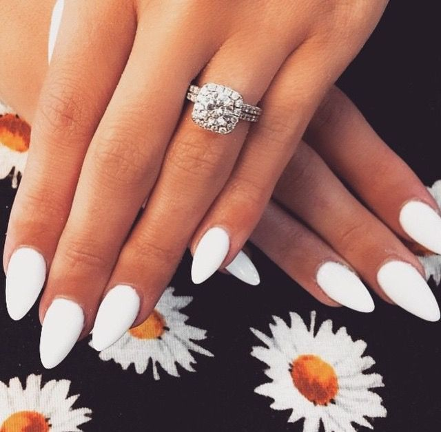 ❁ pinterest: chonces ❁   White almond nails