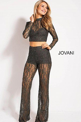 6b86d9af8c83 Grey Sheer Two Piece Lace Jumpsuit by Jovani M48623 | Prom/Hoco ...