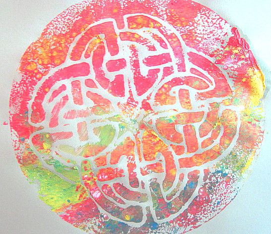 styrofoam prints - love the celtic knot as  print