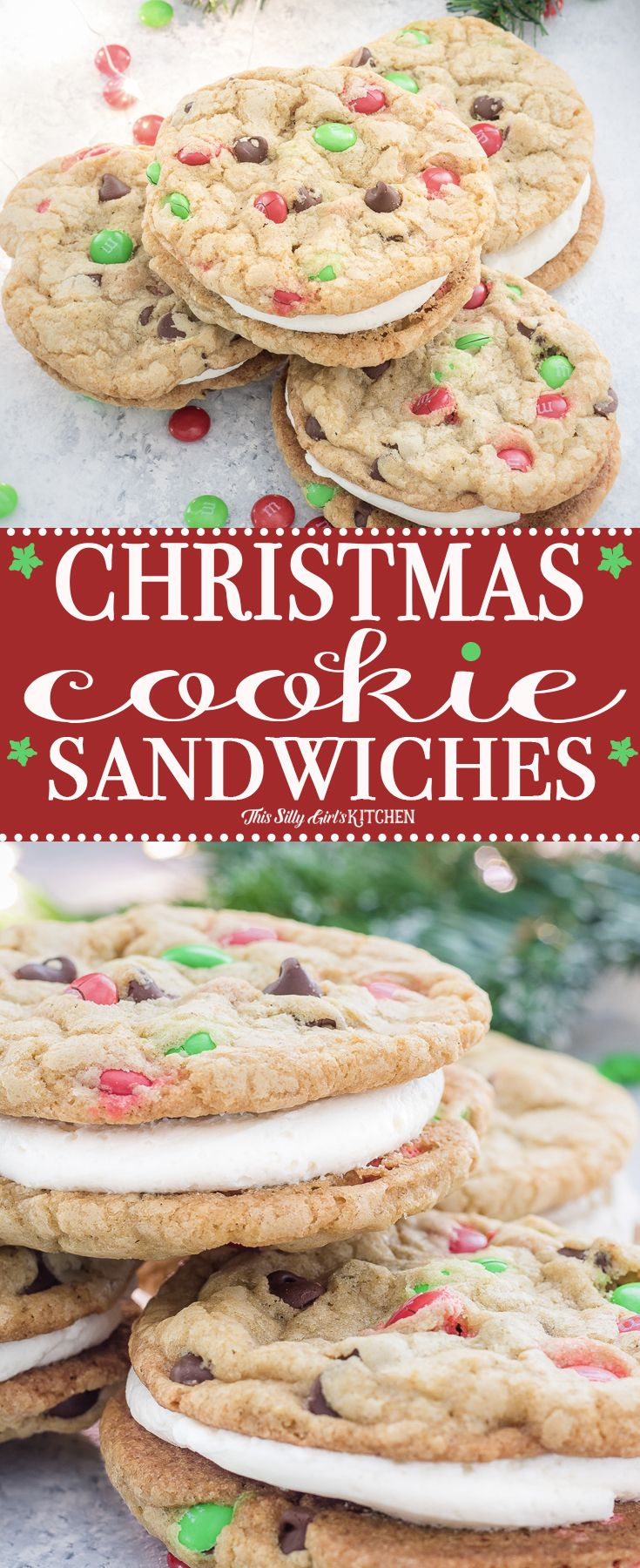 Perfect for Santa - Christmas Cookie Sandwiches, the fluffiest buttercream frosting sandwiched between two soft and chewy chocolate chip cookies loaded with holiday M&M's!
