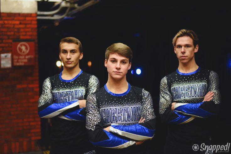 Cheer Athletics Cheetahs Noah Bradley, Chase Peek, Tyler Debuty / Snapped by Becca Clark for CHEERYOURHEARTOUT