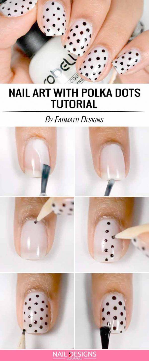 Nail Art with Polka Dots Bows