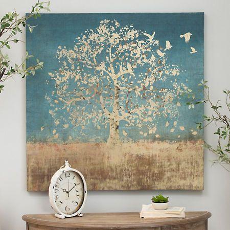 Golden Bird Tree Canvas Art Print | Kirklands $40 living room