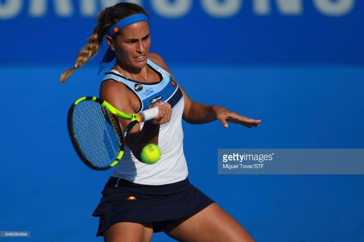 Monica Puig of Puerto Rico takes a forehand shot during the match between Francesca Schiavone (ITA) and Monica Puig (PUR) as part of the Abierto Mexicano Telcel 2017 at the Fairmont Acapulco Princess on February 28, 2017 in Acapulco, Mexico.