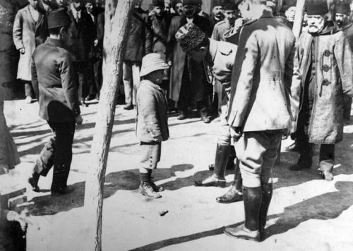 An Ottoman kid asks to Enver Pasha (then the minister of war) if he could join the Ottoman army to revenge his father