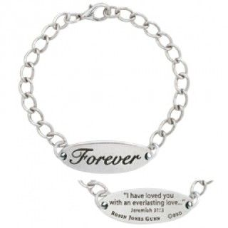 """Forever Bracelet: Inspired by the """"Christy Miller"""" series, by best-selling author Robin Jones Gunn, this I.D. bracelet features the word """"Forever"""" engraved on the front and Jeremiah 31:3 """"I have loved you with an everlasting love."""" on the back."""