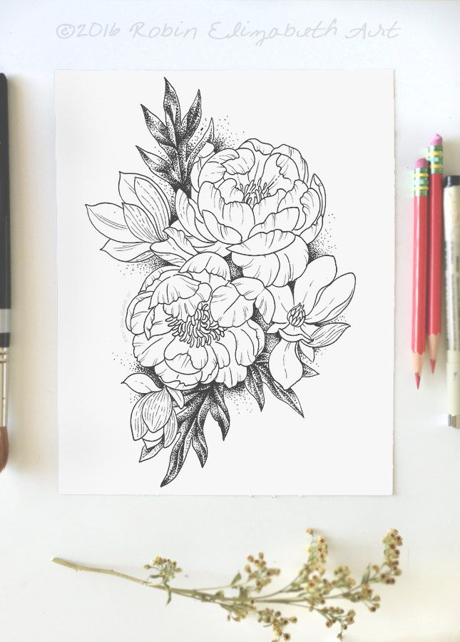 Adult Coloring Page Peonies and Magnolias by RobinElizabethArt