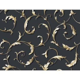 York Wallcoverings Black And White Book Gold And Black Paper Textured