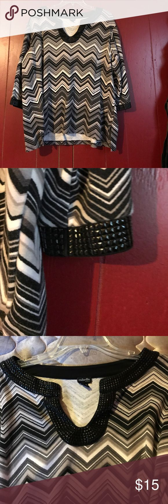 Chevron top with black studs *final price* Studded neck and sleeves Rafaella Tops Tees - Long Sleeve