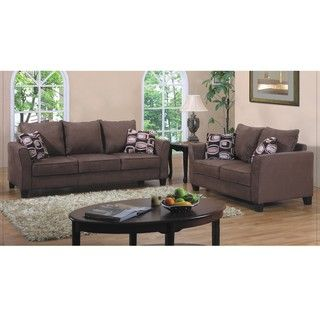 $699 Fountain Valley Dark Brown Microfiber Sofa And Love Seat Set |  Overstock.com