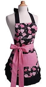 A great idea for your hostess or the new mom to be.  These stylish aprons would make any women in the kitchen happy!  This is the Midnight Bloom Apron.  #Hostessgiftidea #apron #mothersday #gift #flirtyapron #mothersdaygift #kitchen #momgift