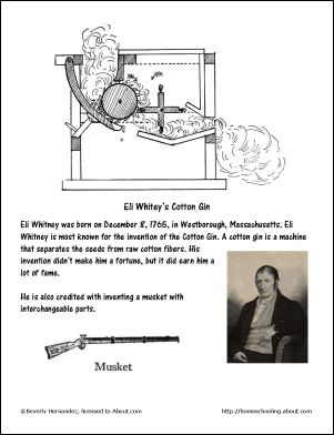 October Worksheets and Coloring Pages: Eli Whitney Coloring Page