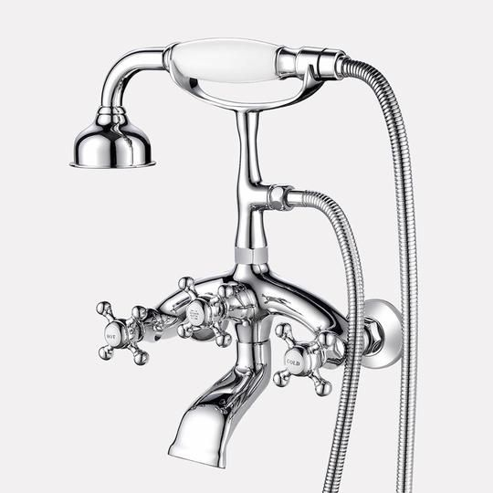 Traditional Bathroom Wall Mount Tub Faucet With Hand Shower