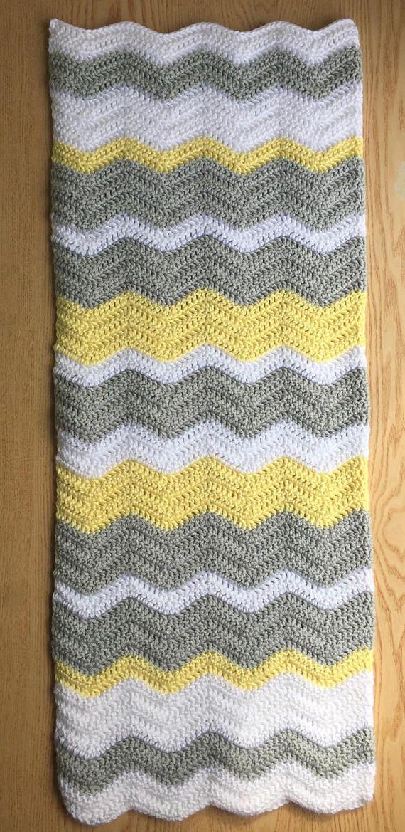 Manta del bebé Chevron gris y amarillo / del ganchillo bebé