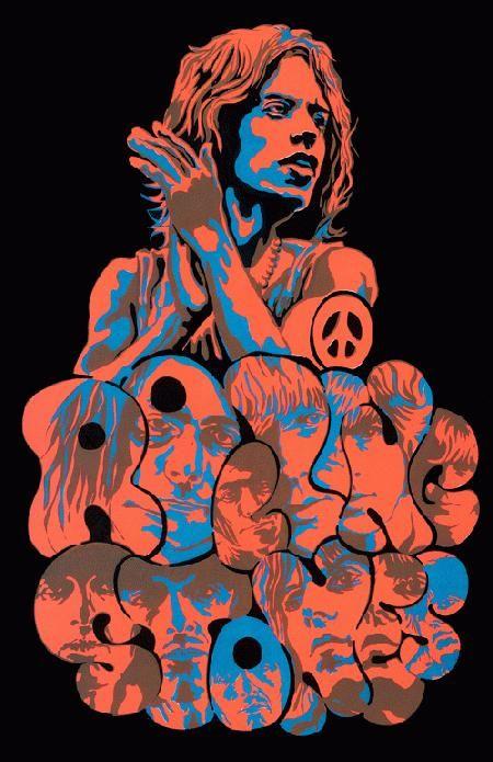 Vintage, retro, hippie, classic rock concert poster, beautiful art design - Rolling Stones, 1969.