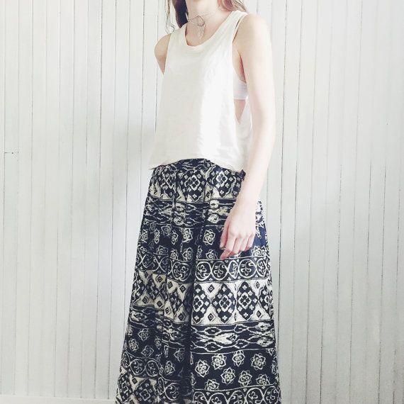 Vintage Festival Folk Maxi Skirt by MoonInLeoShop on Etsy