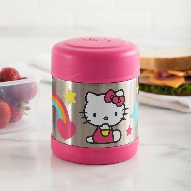 Say Hello Lunch with a Hello Kitty Thermos Funtainer Insulated Food Jar. The Thermos double wall stainless steel vacuum insulated construction ensures maximum temperature retention for hot or cold food. With a twist on lid and wide mouth opening the funtainer is easy to fill but won't accidentally spill in your lunch bag!