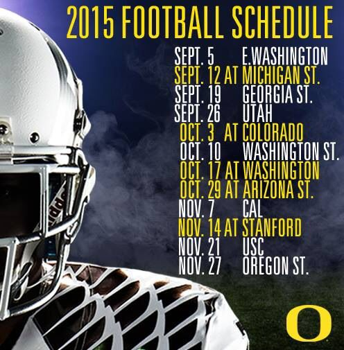 2015 Football Schedule Nov 21st the day USC dies in Eugene