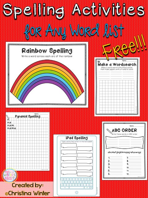 FREE! 5 engaging spelling activities to practice any spelling or sight word list