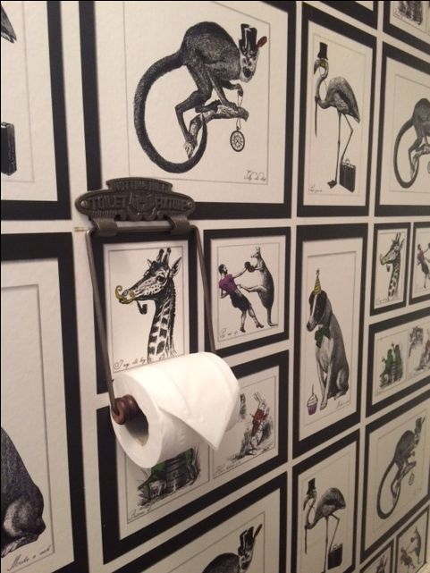 Notting Hill toilet roll holder in quirky toilet closet