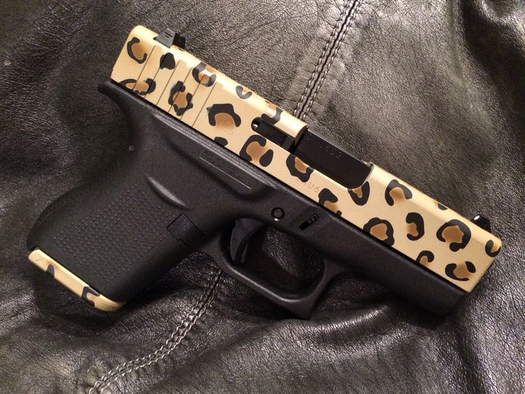 """My latest creation, """"Tactical Leopard Print. This is using Duracoat and stencils from montactical.com. The weapon is a Glock 43."""