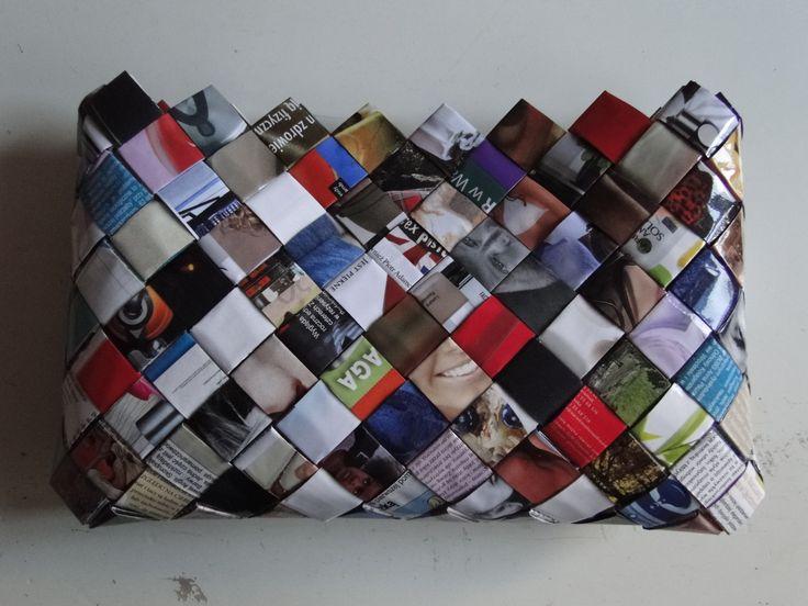 Kopertówka - Woven Paper Bag Torebka damska z kolorowych czasopism, ofoliowana, nieprzemakalna
