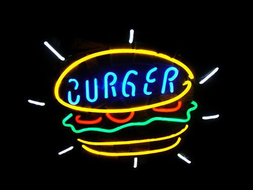 """New Burger Hot Dog Food Beer Pub Bar Handcrafted Neon Light Sign 17""""x14"""" Q85S"""