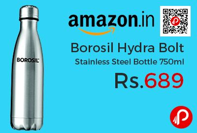 Amazon #LightningDeal is offering 21% off on Borosil Hydra Bolt Stainless Steel Bottle 750ml at Rs.689 Only. Vacuum insulated steel flask with inside outside stainless steel, grade 304, which is rust free, Copper coated inside for better heat retention, Keeps beverages hot or cold for 24 hours, lid is leak proof, BPA Free.  http://www.paisebachaoindia.com/borosil-hydra-bolt-stainless-steel-bottle-750ml-at-rs-689-only-amazon/