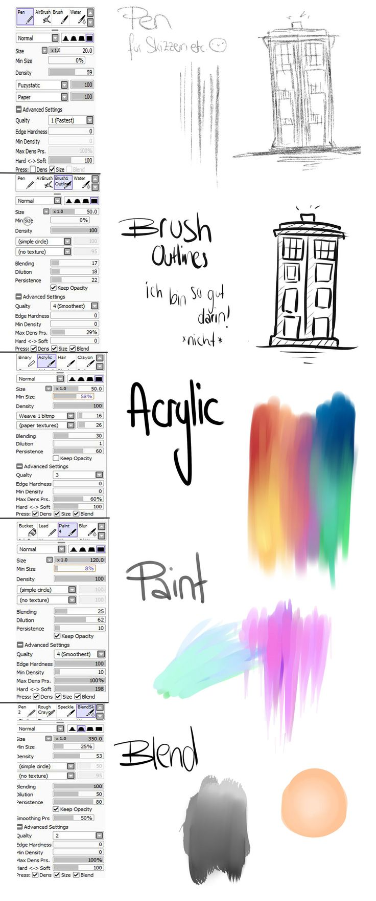 Brush Settings Paint tool sai by sodmerow