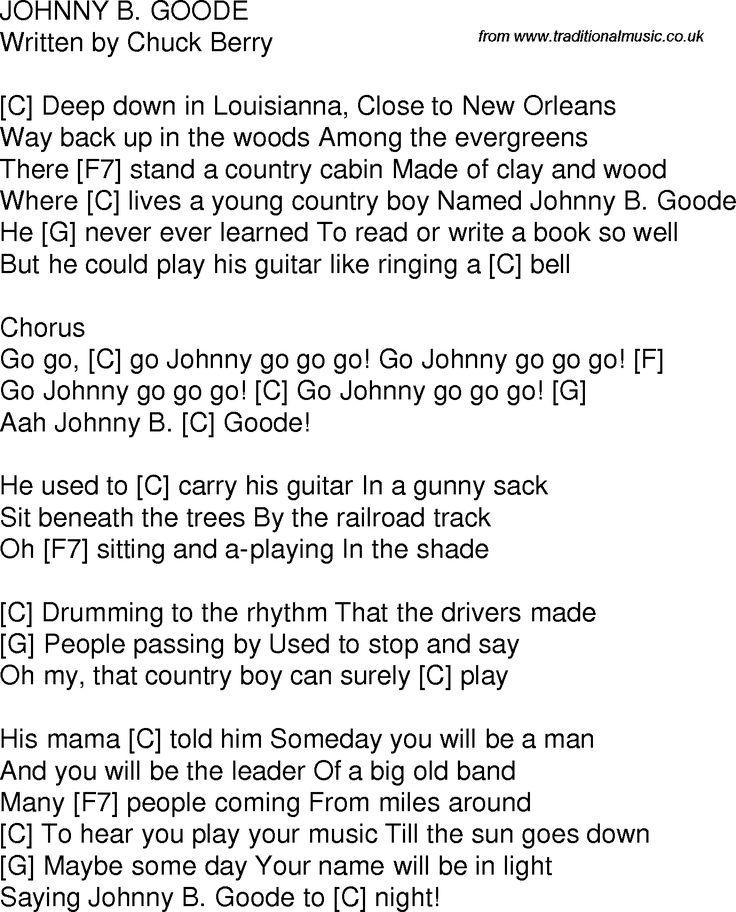 Chuck Berry - Johnny B. Goode Lyrics | MetroLyrics