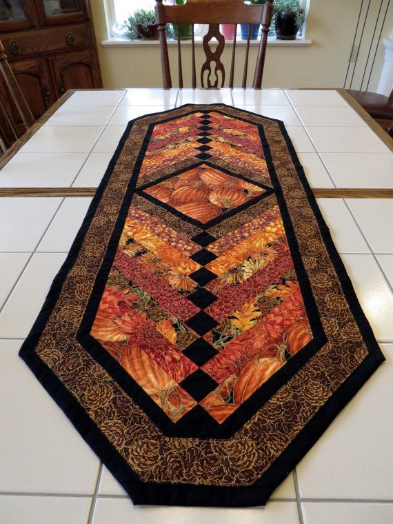 Attractive Quilted Autumn Harvest French Braid Table Runner