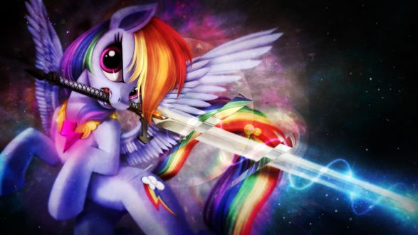 Радуга Дэш / Rainbow Dash с мечом катаной на фоне ночного неба / арт к мультфильму My Little Pony: Friendship Is Magic