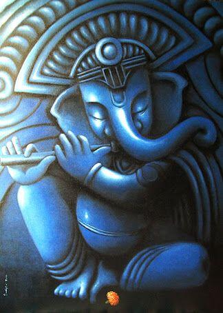 Ganesha in blue and black
