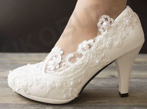 Wedding-Lace-Ivory-Prom-Party-Bridal-Bridesmaid-Flat-High-Low-Heel-shoes-size3-9