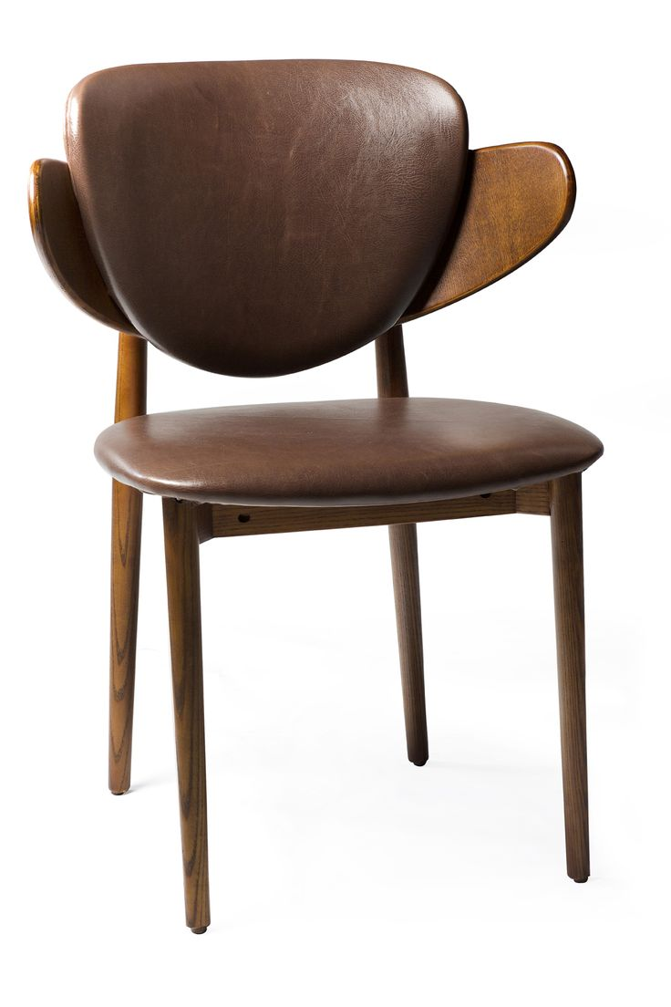 COSTA Chair in brown art. leather with ash legs