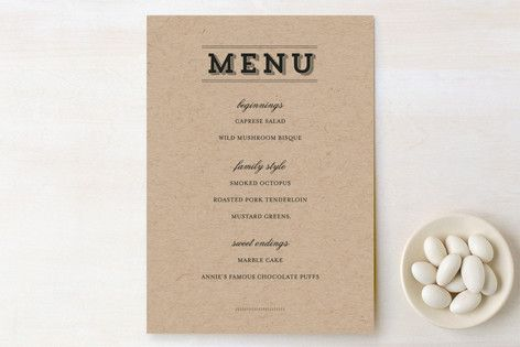 """Farm to Table"" - Vintage, Rustic Menu Cards in Kraft by Sara Hicks Malone."