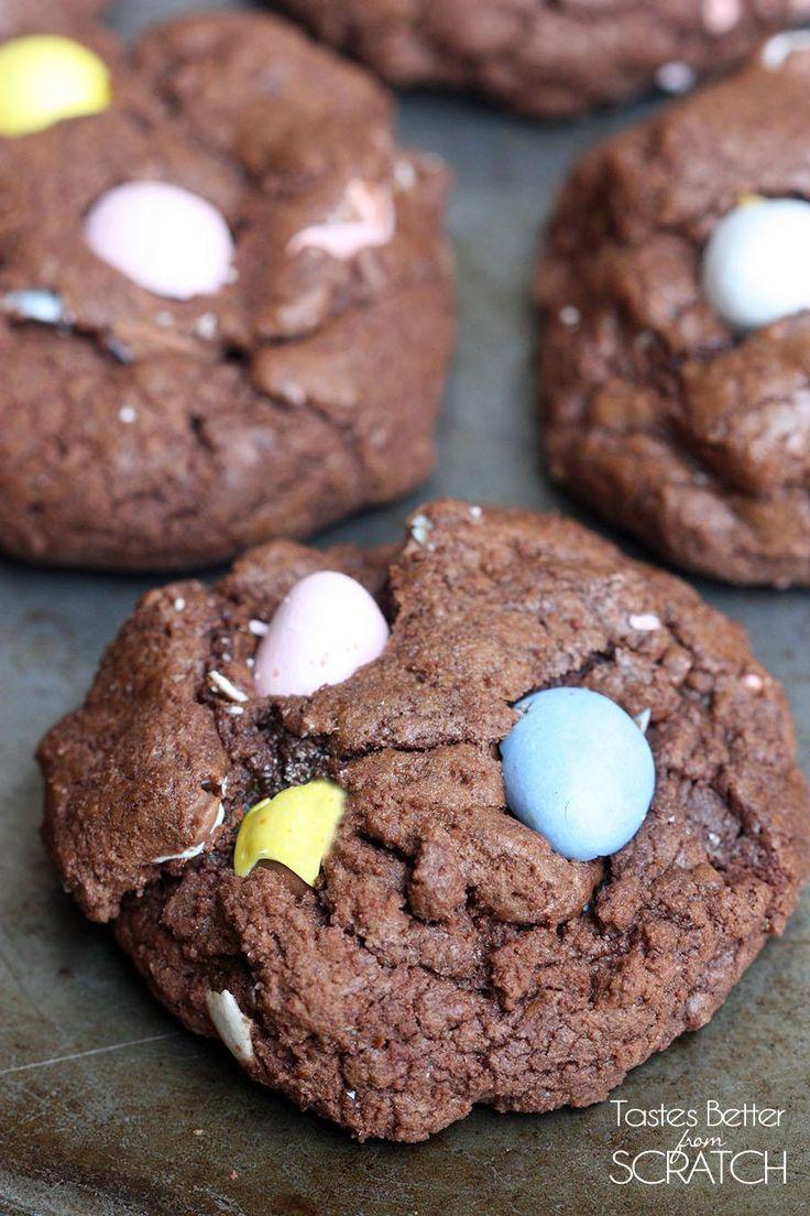 Chocolate Cadbury Egg Cookies recipe on TastesBetterFromScratch.com