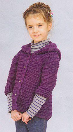Схема вязания спицами, кофта с капюшоном р-р 104 см, на 4 года