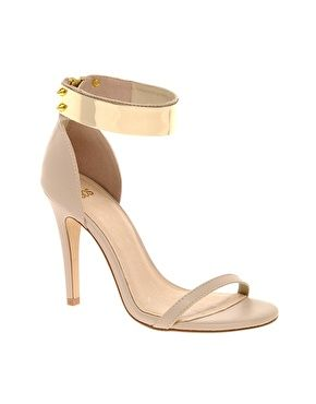 Heeled Sandals with Metal Trim
