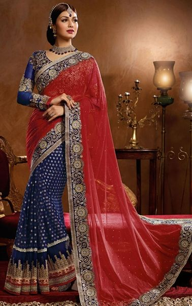 Ravishing Red and Blue Color Bollywood Saree for Wedding