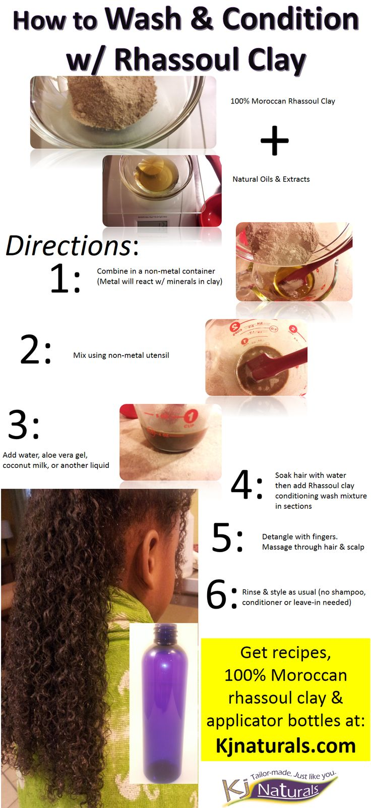 How to cleanse & condition hair w/ Moroccan rhassoul clay, a natural shampoo alternative. #rhassoulclay